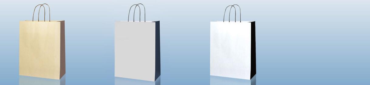 Colores para Bolsas Genéricas bicolor: Crema con fuelle Marrón, Grís con fuelle Blue Navy, Blanco con fuelle Negro