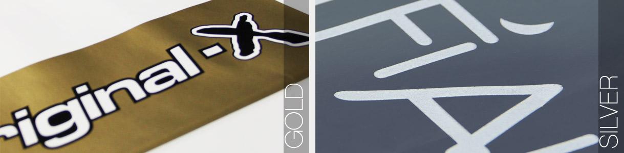 Ejemplos de impresión color Oro y Plata
